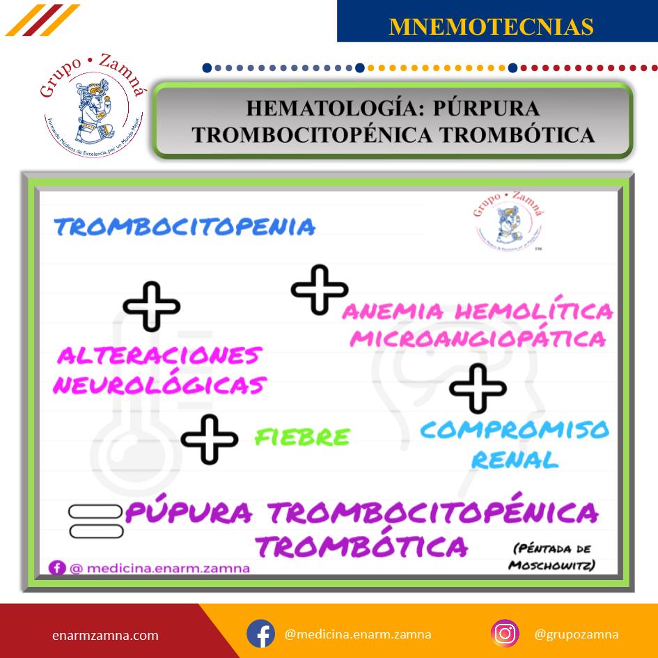 NEMOTECNIAS DE MEDICINA INTERNA HEMATOLOGÍA PÚRPURA TROMBOCITOPÉNICA TROMBÓTICA